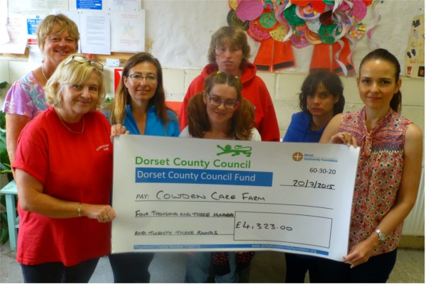 Cheque Presentation with Cowden Care Farm