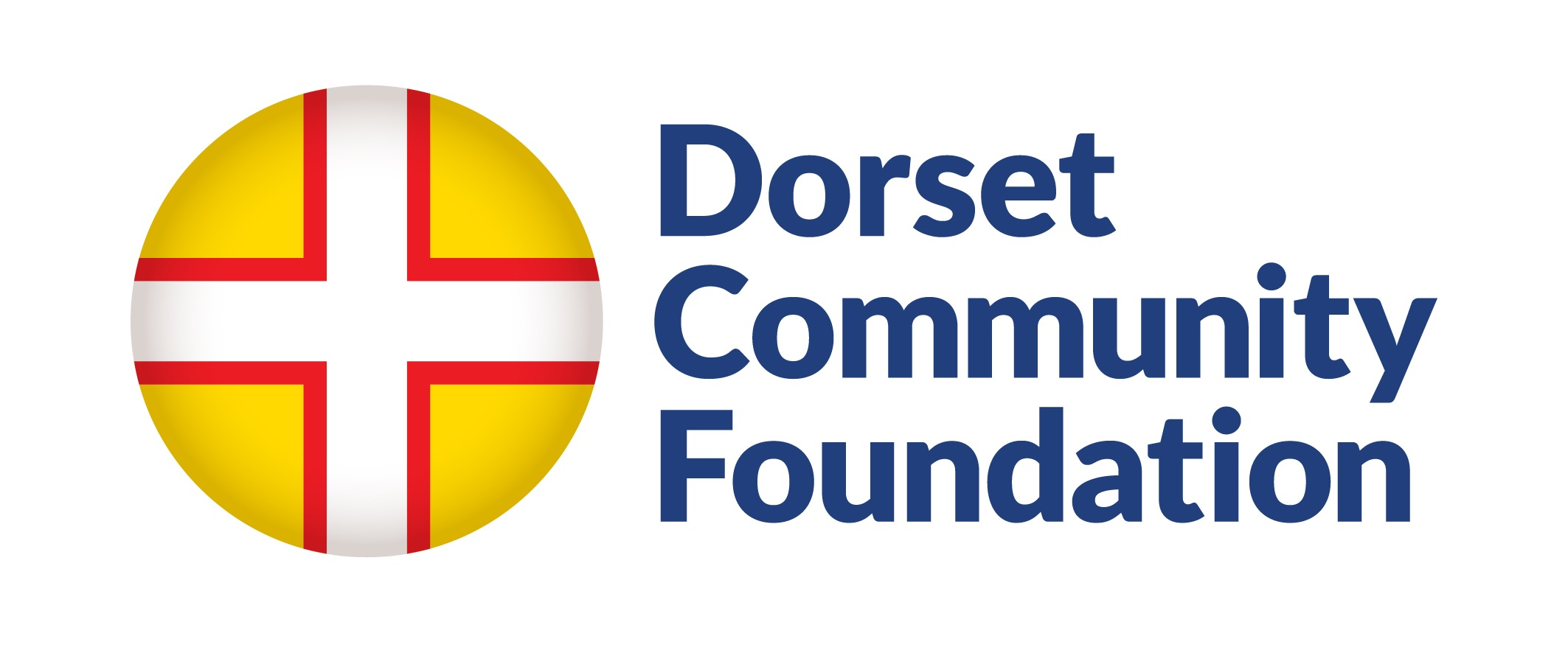 Logo: Dorset Community Foundation (text with circular flag of yellow background and white cross with red outline.
