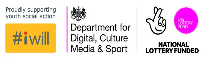 Logos: #iwill Proudly supporting youth social action / Department for Digital, Culture Media & Sport / National Lottery Funded Big Lottery Fund.